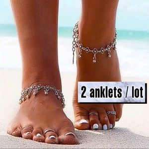 ⚜️[𝟯/$𝟯𝟴]⚜️Silver Chunky Beaded Boho Anklet NEW